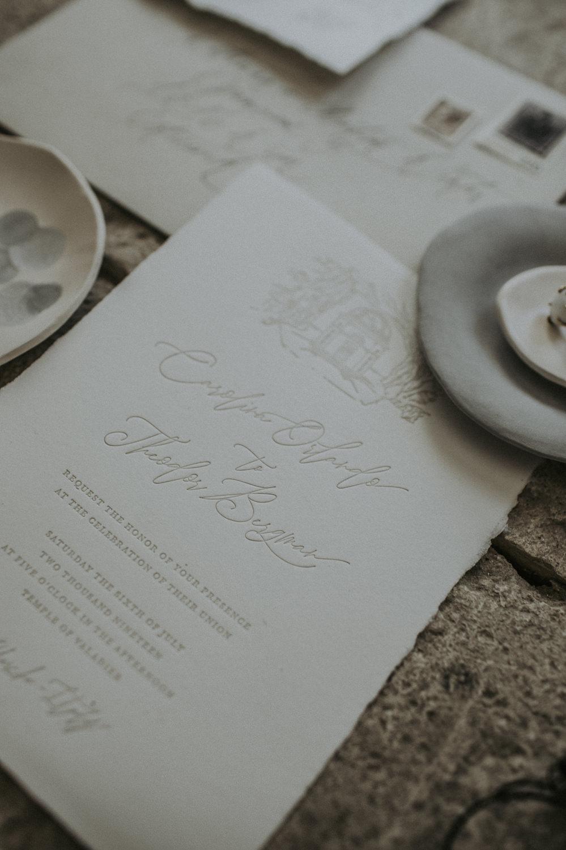 Stationery Invite Invitations Flat Lay Organic Natural Calligraphy Letterpress Cave Wedding Ideas Vanessa Illi Photographer