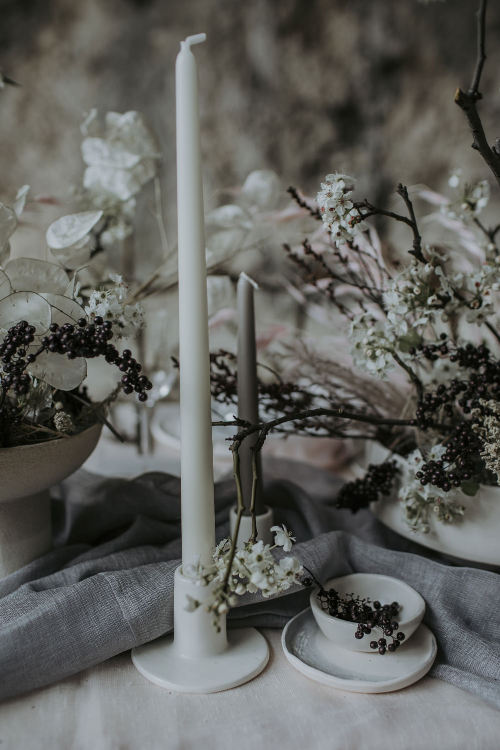 Tablescape Table Decor Candles Branches Natural Wild Neutrals Linen Flowers Cave Wedding Ideas Vanessa Illi Photographer