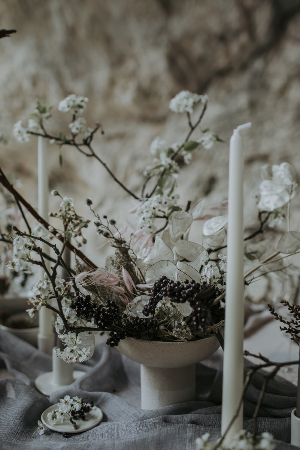 Tablescape Table Decor Candles Branches Natural Wild Neutrals Linen Flowers Urn Cave Wedding Ideas Vanessa Illi Photographer