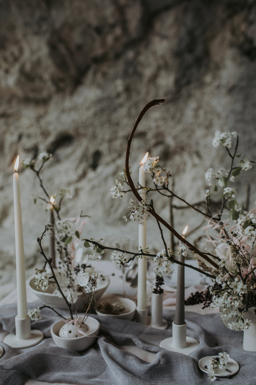 Tablescape Table Decor Candles Branches Natural Wild Neutrals Linen Cave Wedding Ideas Vanessa Illi Photographer