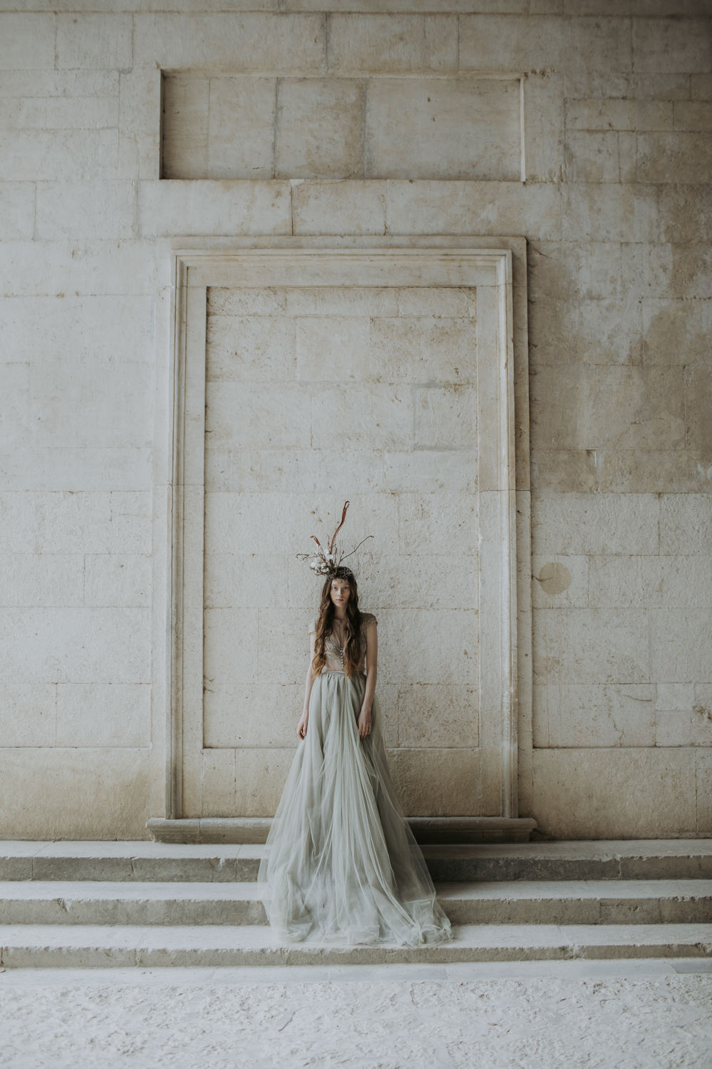 Dress Gown Bride Bridal Grey Lace Buttons Tulle Skirt Train Cave Wedding Ideas Vanessa Illi Photographer