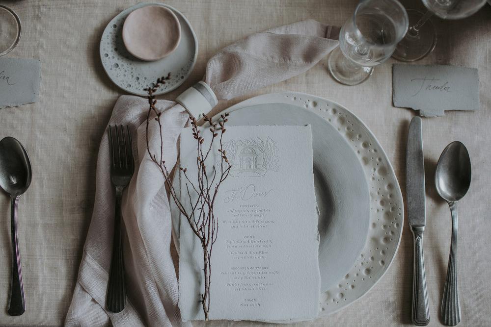 Place Setting Decor Menu Twig Plates Ceramic Tableware Napkin Natural Wild Neutrals Cave Wedding Ideas Vanessa Illi Photographer