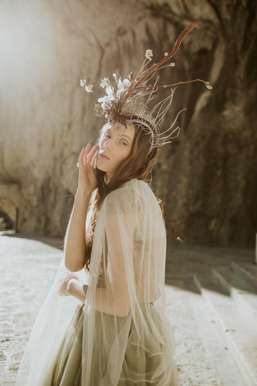 Dress Gown Bride Bridal Grey Lace Buttons Tulle Skirt Train Veil Cave Wedding Ideas Vanessa Illi Photographer