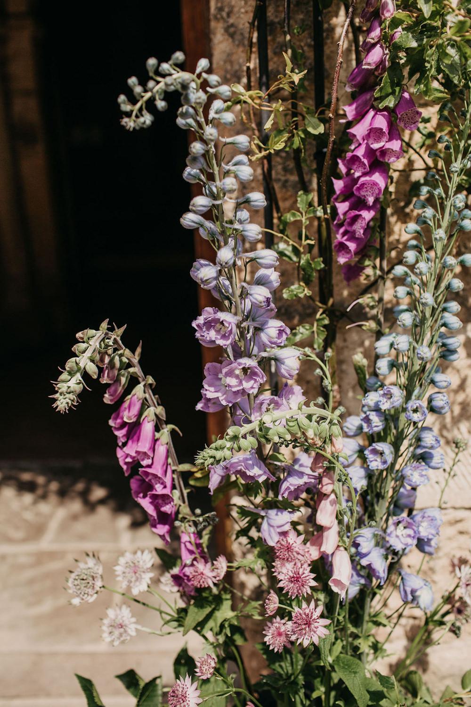 Foxgloves Flowers Arrangement Church Celeste Marquee Wedding Sarah Longworth Photography