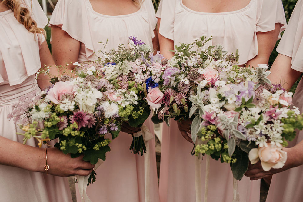 Bouquets Flowers Bride Bridal Bridesmaids Pretty Pink Lilac Celeste Marquee Wedding Sarah Longworth Photography
