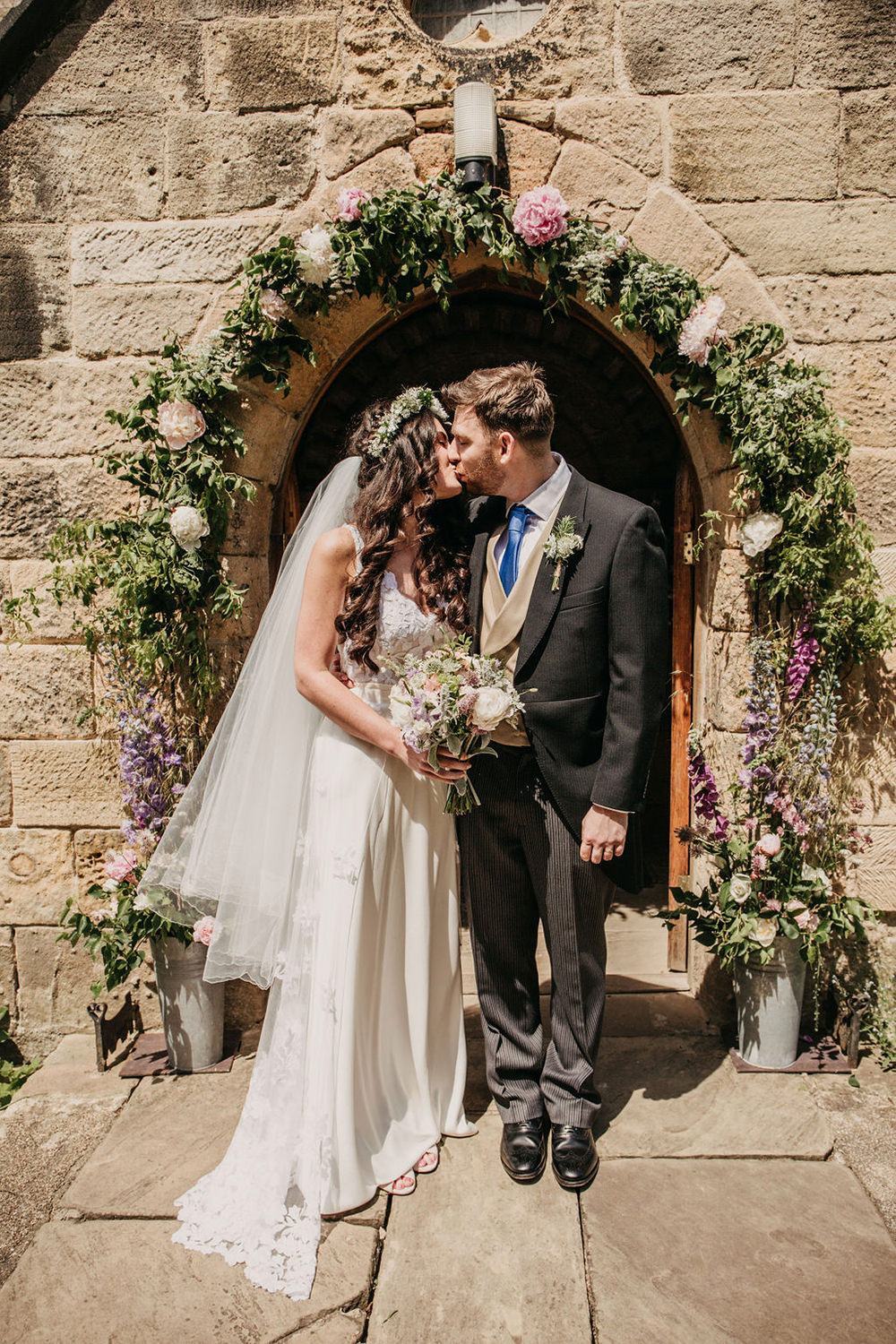 Flower Arch Church Door Entrance Flowers Florals Pink Peony Celeste Marquee Wedding Sarah Longworth Photography
