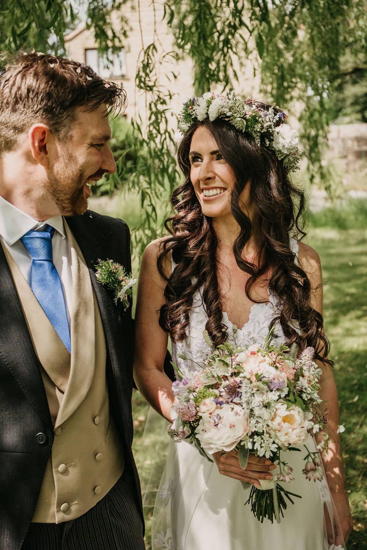 Celeste Marquee Wedding Sarah Longworth Photography Bride Bridal Dress Gown Lace Train Veil Flower Crown