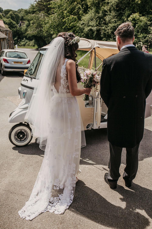 Tuk Tuk Transport Car Bride Bridal Dress Gown Lace Train Veil Flower Crown Celeste Marquee Wedding Sarah Longworth Photography
