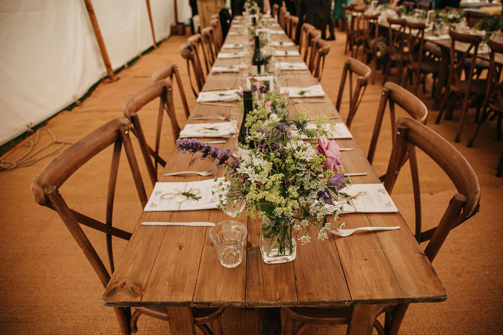 Wild Meadow Flowers Bottle Centrepice Table Celeste Marquee Wedding Sarah Longworth Photography
