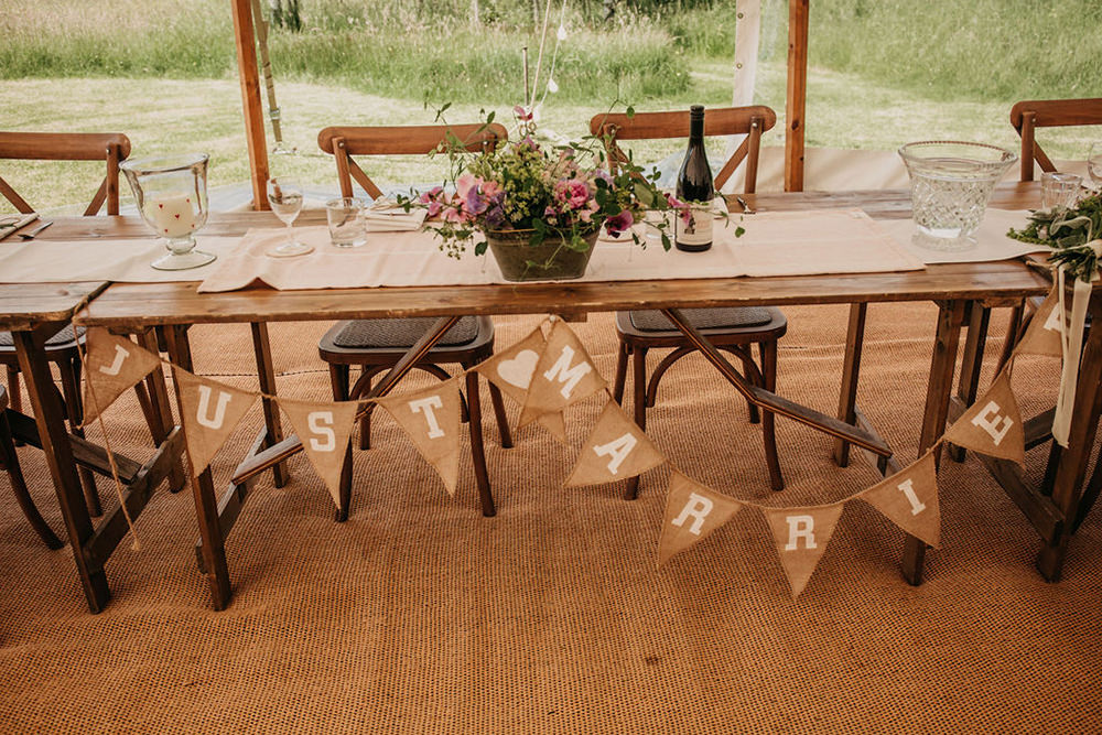 Top Table Bunting Celeste Marquee Wedding Sarah Longworth Photography
