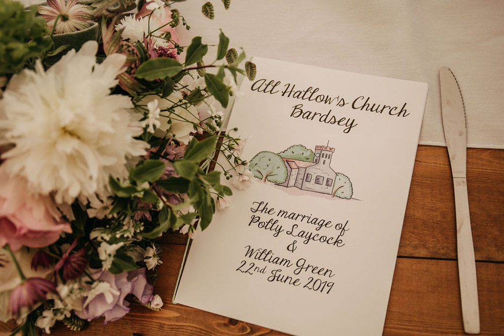 Order Of Service Booklet Celeste Marquee Wedding Sarah Longworth Photography