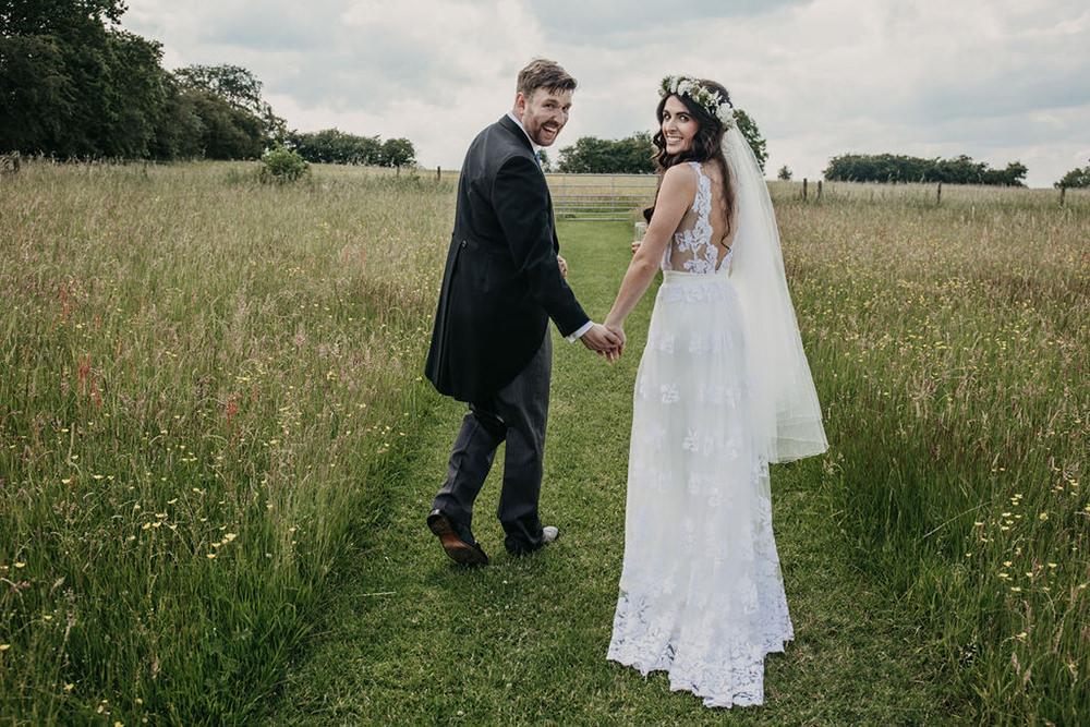 Bride Bridal Dress Gown Lace Train Veil Flower Crown Celeste Marquee Wedding Sarah Longworth Photography
