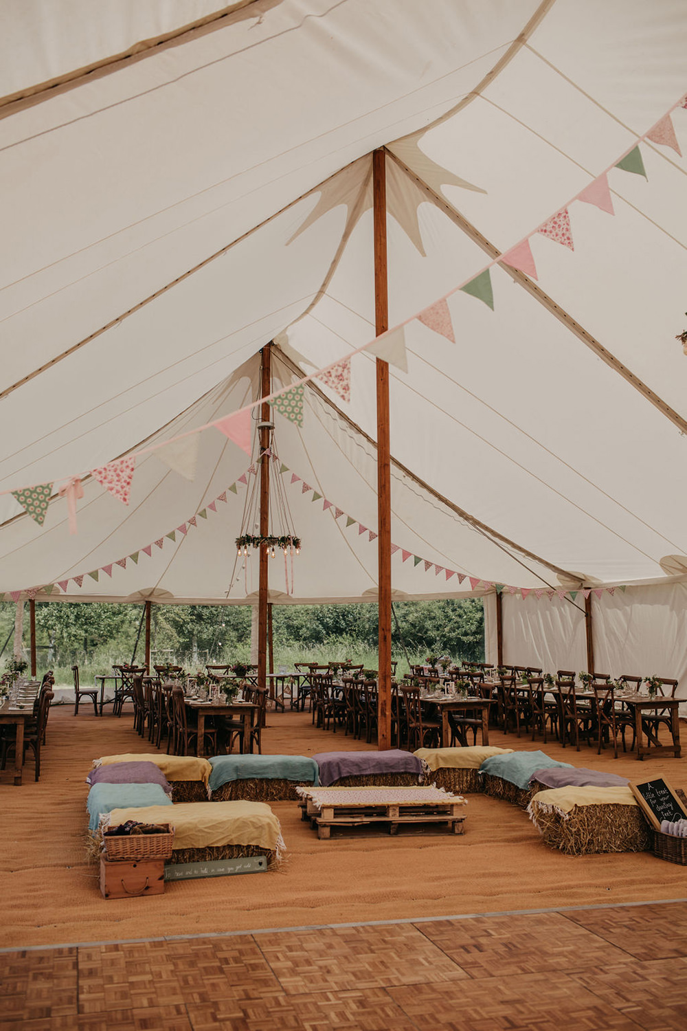 Pole Tent Bunting Hay Bale Seating Celeste Marquee Wedding Sarah Longworth Photography