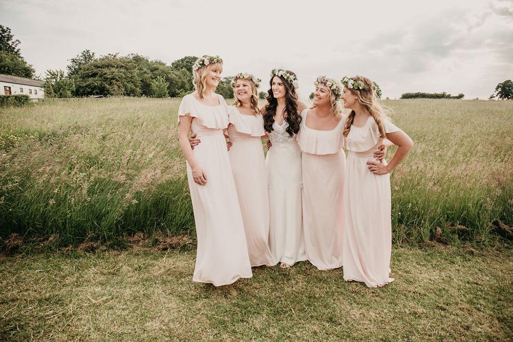 Bridesmaids Bridesmaid Bardot Off Shoulder Pale Pink Dress Dresses Celeste Marquee Wedding Sarah Longworth Photography
