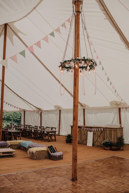 Pole Tent Greenery Foliage Hoop Lights Celeste Marquee Wedding Sarah Longworth Photography
