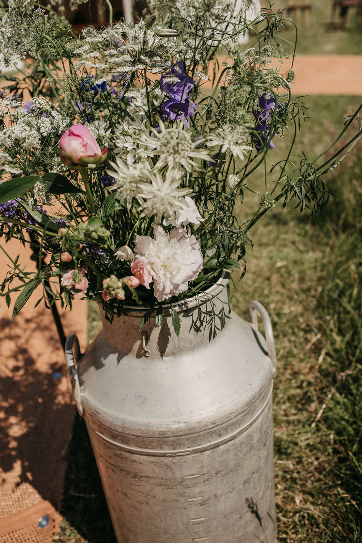 Milk Churn Flowers Celeste Marquee Wedding Sarah Longworth Photography