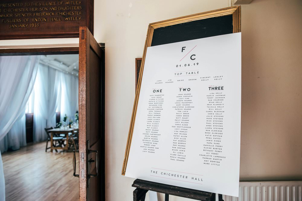 Seating Plan Table Chart Modern Graphic Chichester Hall Wedding Three Flowers Photography
