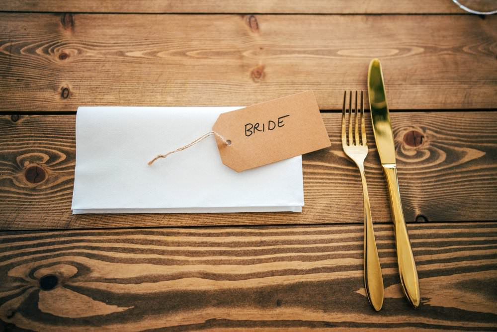 Luggage Tag Place Name Gold Cutlery Chichester Hall Wedding Three Flowers Photography