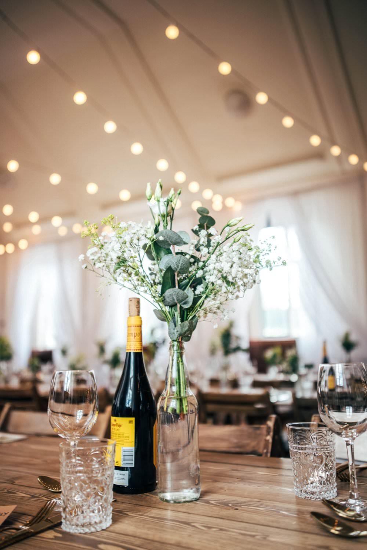 Bottle Flowers Decor Centrepiece Chichester Hall Wedding Three Flowers Photography