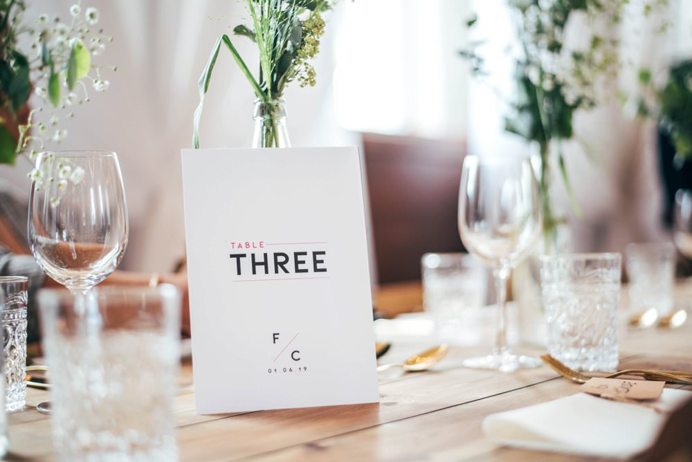 Modern Graphic Table Names Numbers Chichester Hall Wedding Three Flowers Photography