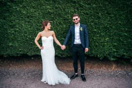 Dress Gown Bride Bridal Lace Strapless Groom Suit Blue Shirt Open Collar Chichester Hall Wedding Three Flowers Photography