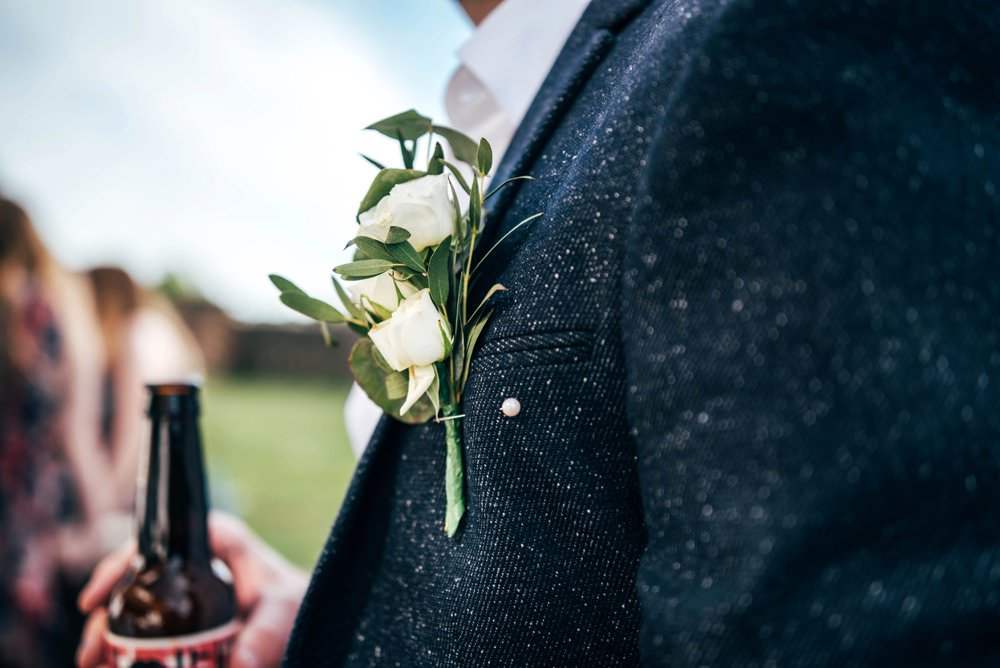 Groom Buttonhole Flowesr Chichester Hall Wedding Three Flowers Photography