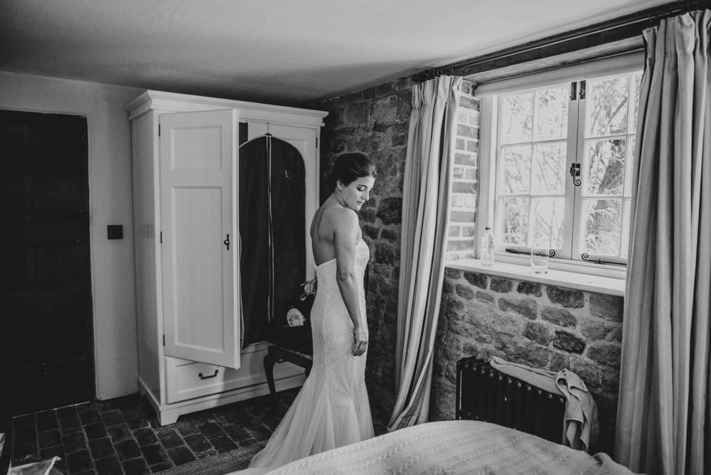 Dress Gown Bride Bridal Lace Strapless Chichester Hall Wedding Three Flowers Photography
