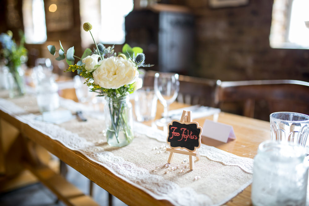 Table Name Bands Foo Fighters Rustic Hessian Lace East Quay Wedding Florence Berry Photography