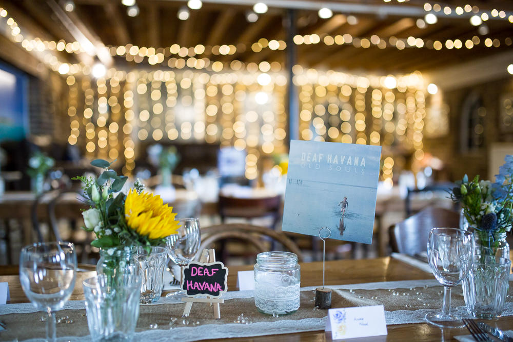 Table Name Bands Lace Hessian Runner Fairy Lights East Quay Wedding Florence Berry Photography