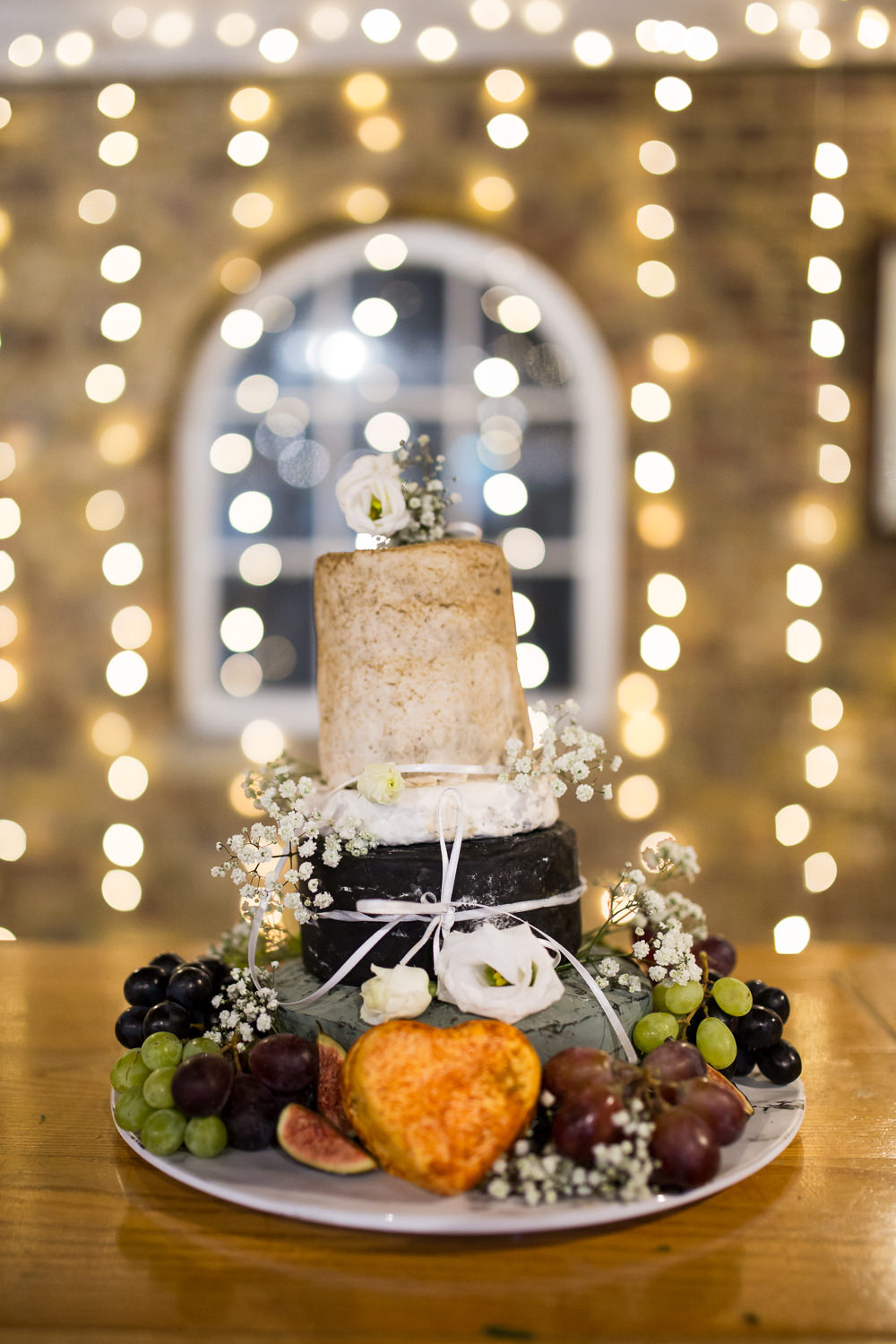Cheese Tower Cake Gypsophila East Quay Wedding Florence Berry Photography