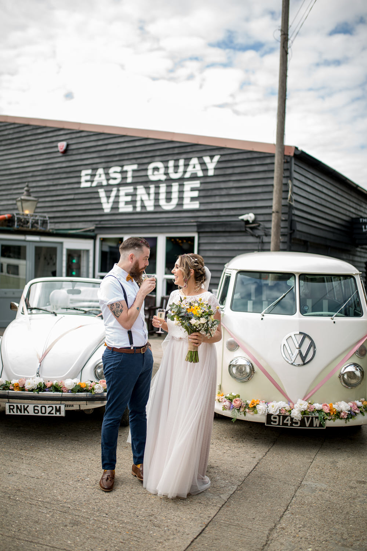 Bride Bridal Lace Cap Sleeve Separates Top Skirt Bow Tie Braces Groom Veil VW Campervan Vintage Car East Quay Wedding Florence Berry Photography