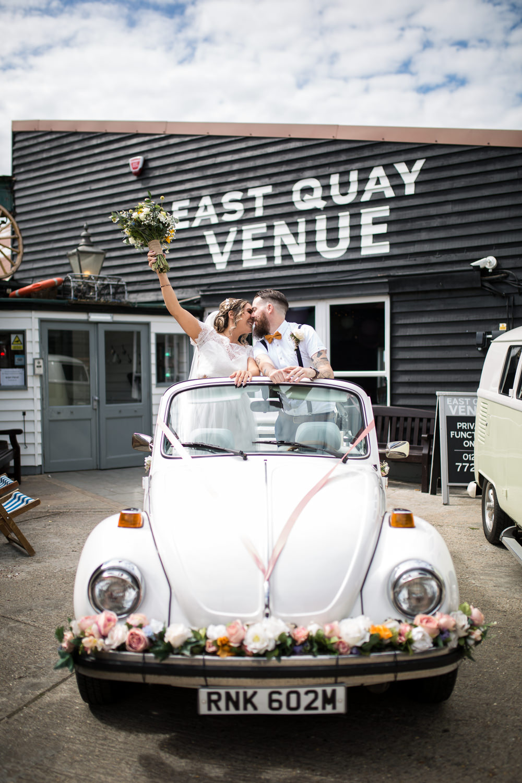 Vintage Car Wedding Transport Bride Bridal Lace Cap Sleeve Dress Bow Tie Braces Groom East Quay Wedding Florence Berry Photography