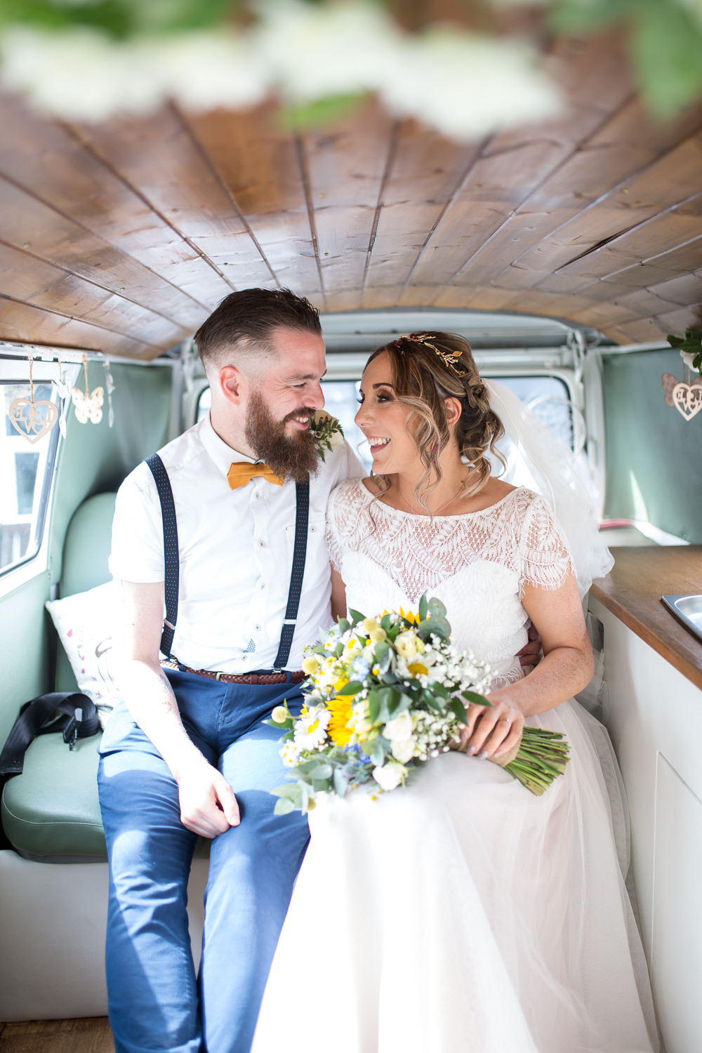 Bride Bridal Lace Cap Sleeve Separates Top Skirt Bow Tie Braces Groom Veil VW Campervan East Quay Wedding Florence Berry Photography