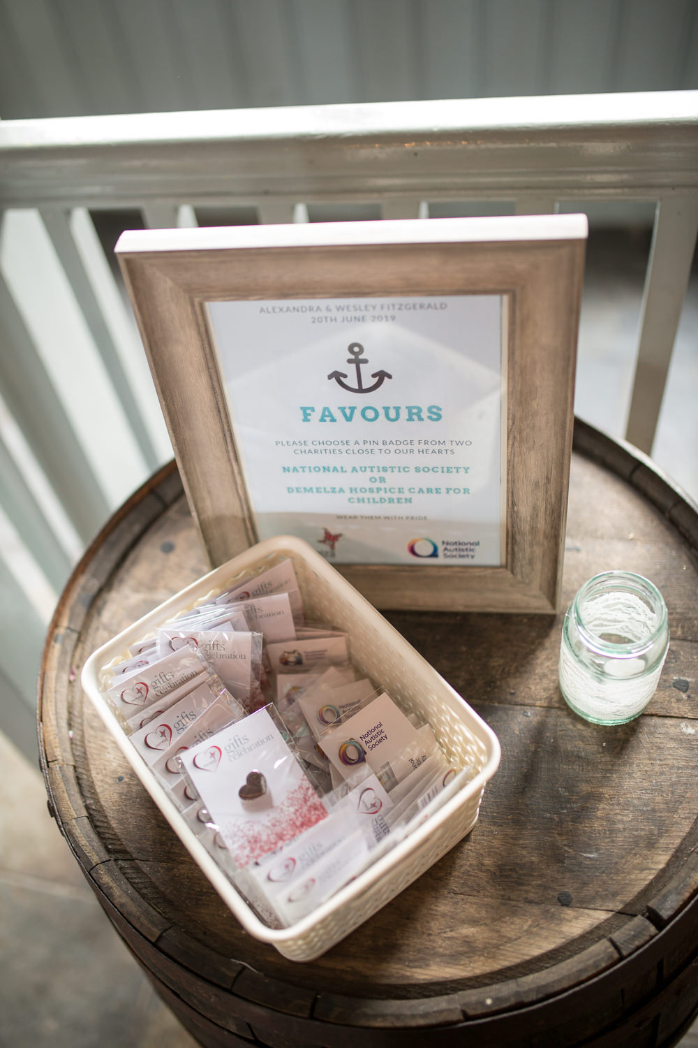 Favours Pin Badge Charity Barrel East Quay Wedding Florence Berry Photography