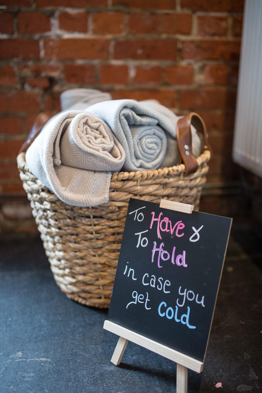 Blanket Basket Chalk Board East Quay Wedding Florence Berry Photography