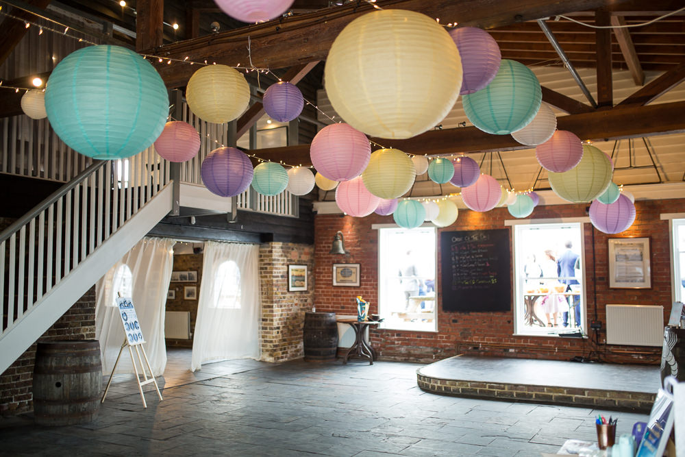 Pastel Hanging Lanterns East Quay Wedding Florence Berry Photography