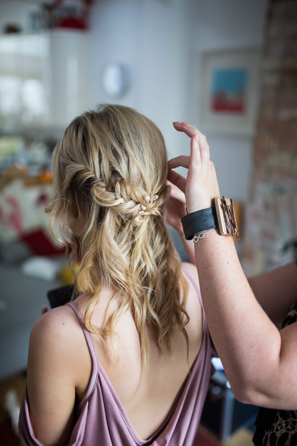 Bride Bridal Bridesmaid Up Do Hair Style Fishtail Braid East Quay Wedding Florence Berry Photography