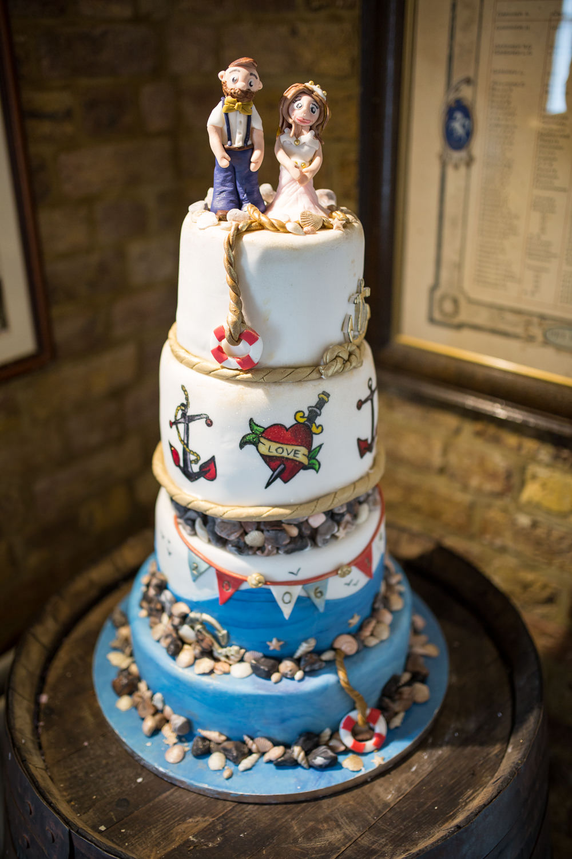 Nautical Tiered Cake Seaside Beach East Quay Wedding Florence Berry Photography