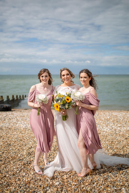 Bride Bridal Lace Cap Sleeve Separates Top Skirt Pink Drop Sleeve Bridesmaids Bouquet Sunflowers Gypsophila Veil East Quay Wedding Florence Berry Photography