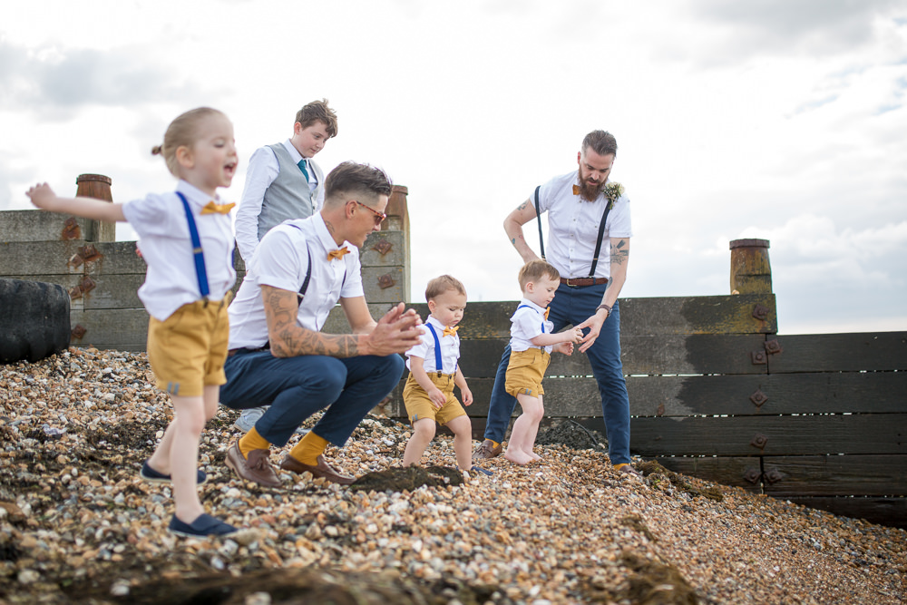 Bow Tie Braces Groom Page Boys Shorts Blue Yellow East Quay Wedding Florence Berry Photography