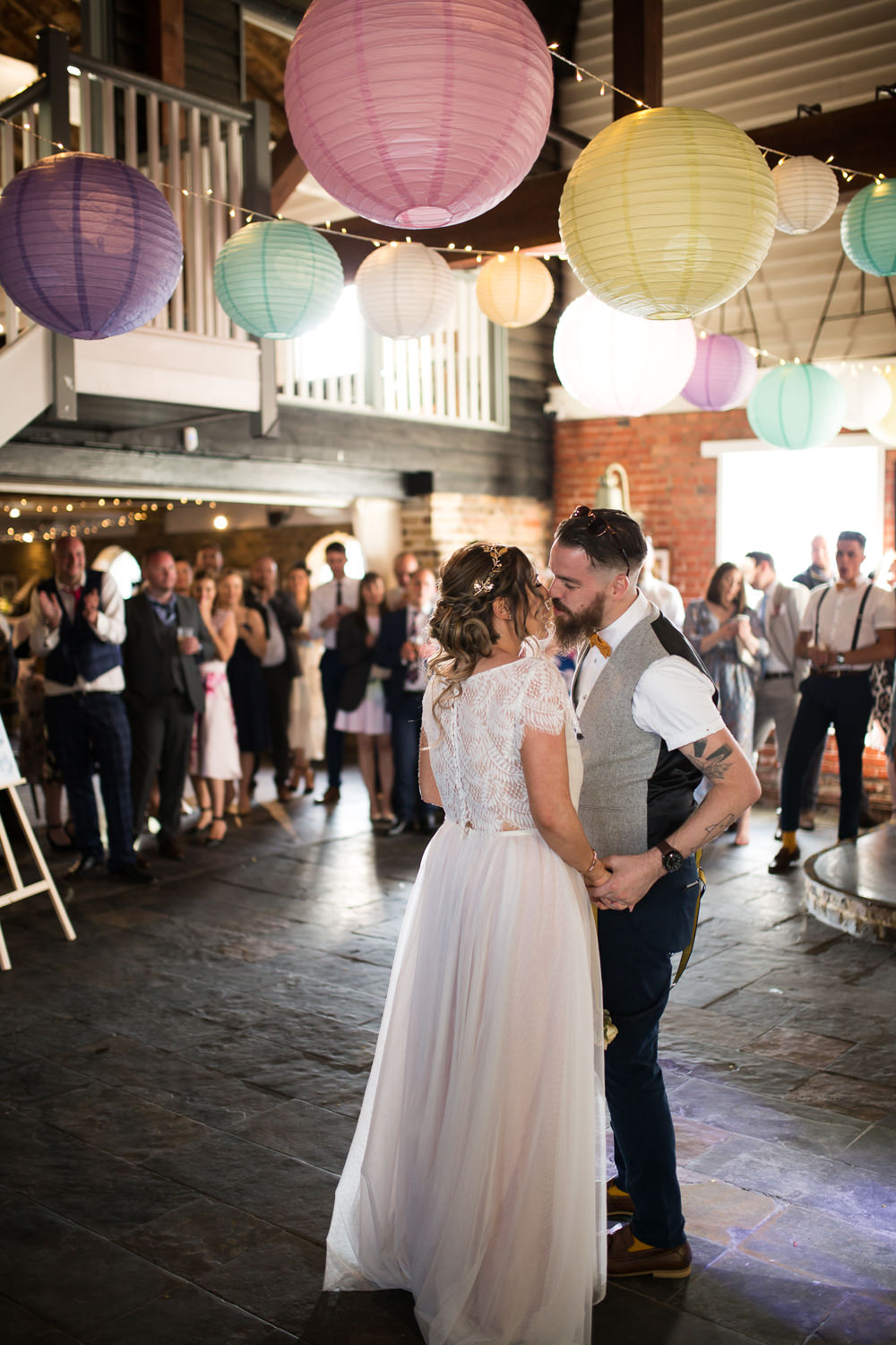 Bride Bridal Lace Cap Sleeve Separates Top Skirt Bow Tie Braces Groom Waistcoat Pastel Paper Lanterns East Quay Wedding Florence Berry Photography