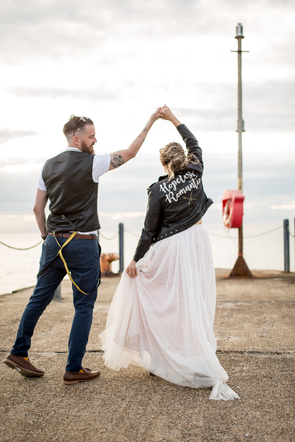 Bride Bridal Lace Cap Sleeve Separates Top Skirt Bow Tie Braces Groom Waistcoat Leather Jacket Hopeless Romantic East Quay Wedding Florence Berry Photography