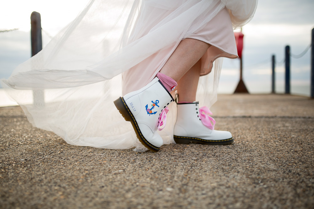 Personalised Dr Martins Boots Nautical East Quay Wedding Florence Berry Photography