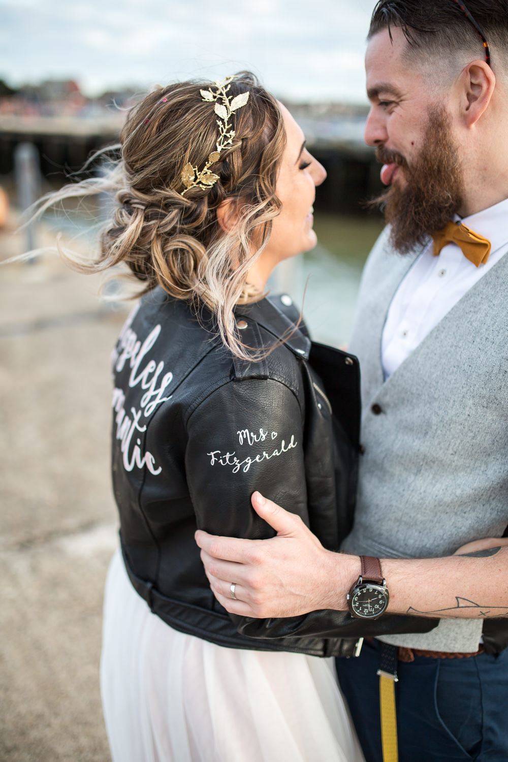 Personalised Leather Jacket Gold Hair Vine East Quay Wedding Florence Berry Photography