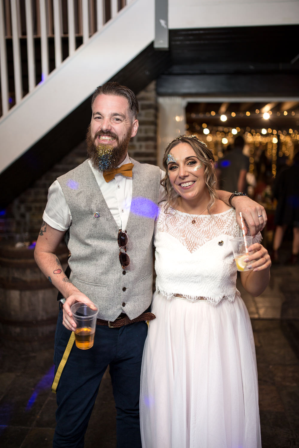 Bride Bridal Lace Cap Sleeve Separates Top Skirt Bow Tie Braces Groom Waistcoat Glitter Beard Make Up East Quay Wedding Florence Berry Photography