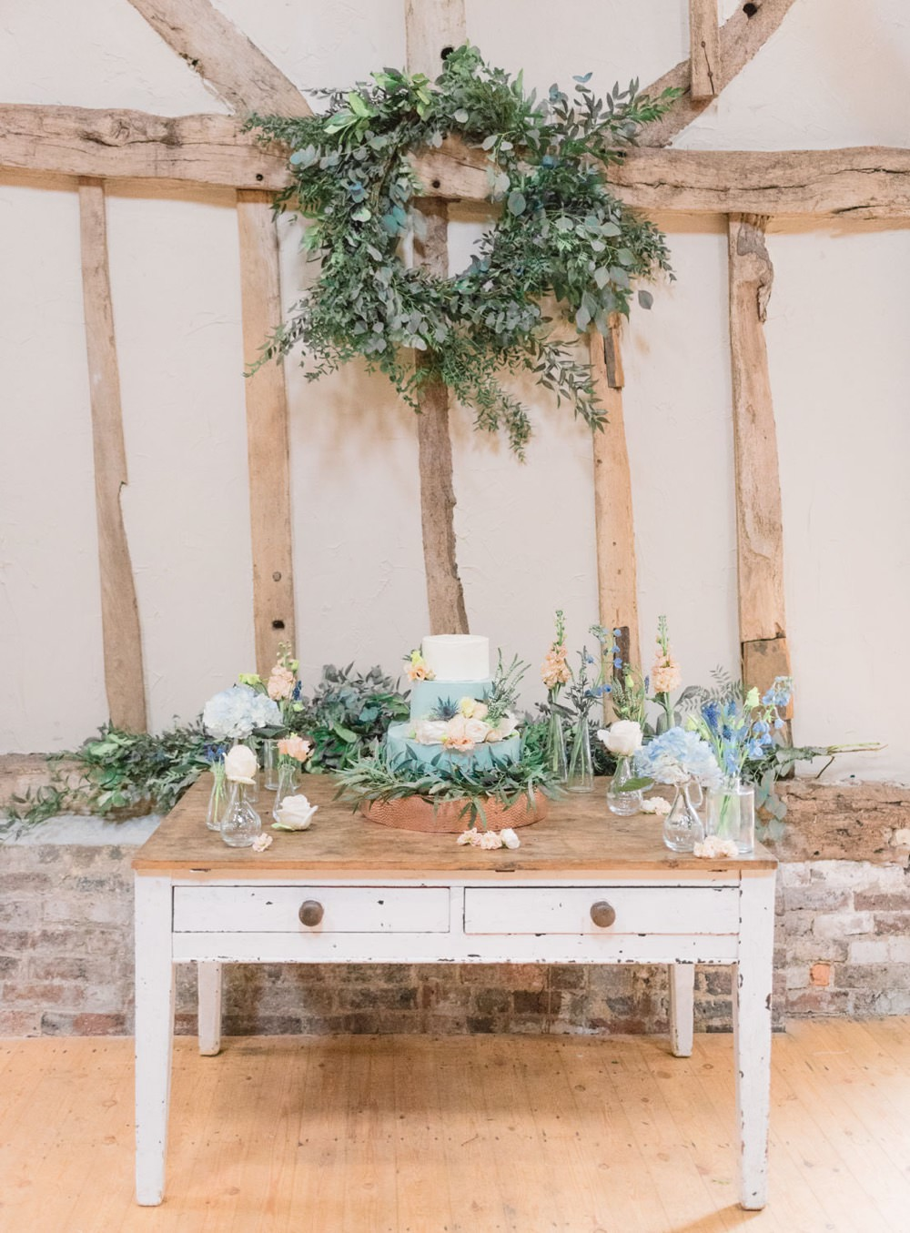 Cake Table Flowers Greenery Foliage Hoop Wreath Elegant Wedding Ideas Yll Weddings