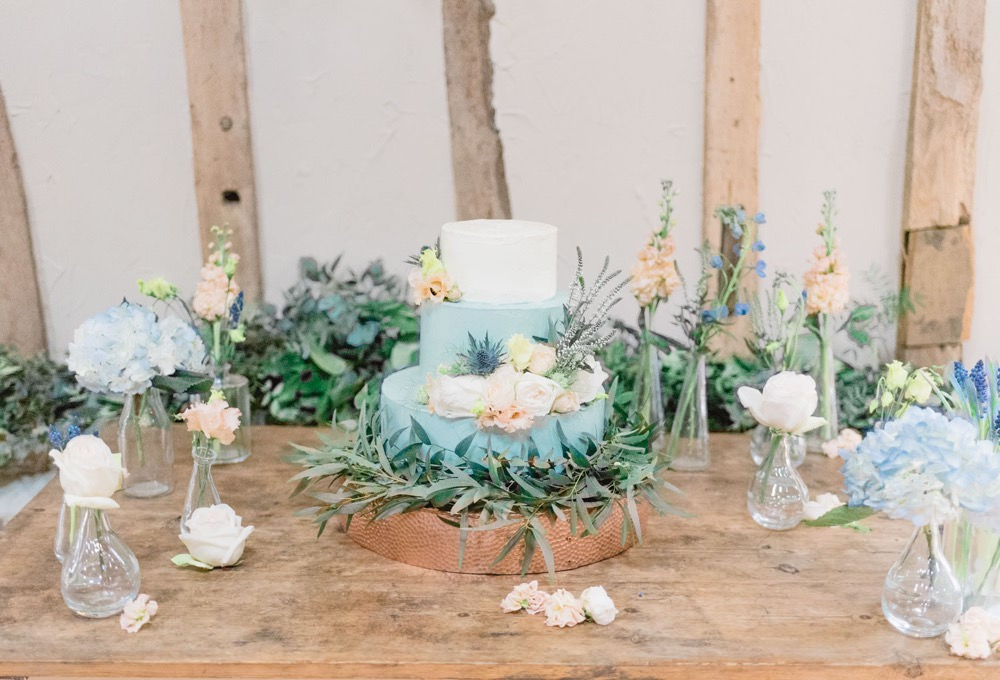 Cake Blue Peach Florals Flowers Greenery Foliage Elegant Wedding Ideas Yll Weddings