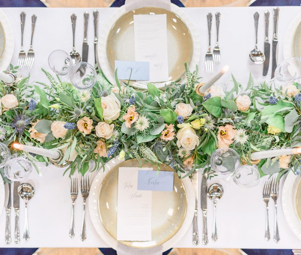 Tablescape Table Decor Decoration Peach Flowers Greenery Foliage Candles Runner Swag Elegant Wedding Ideas Yll Weddings