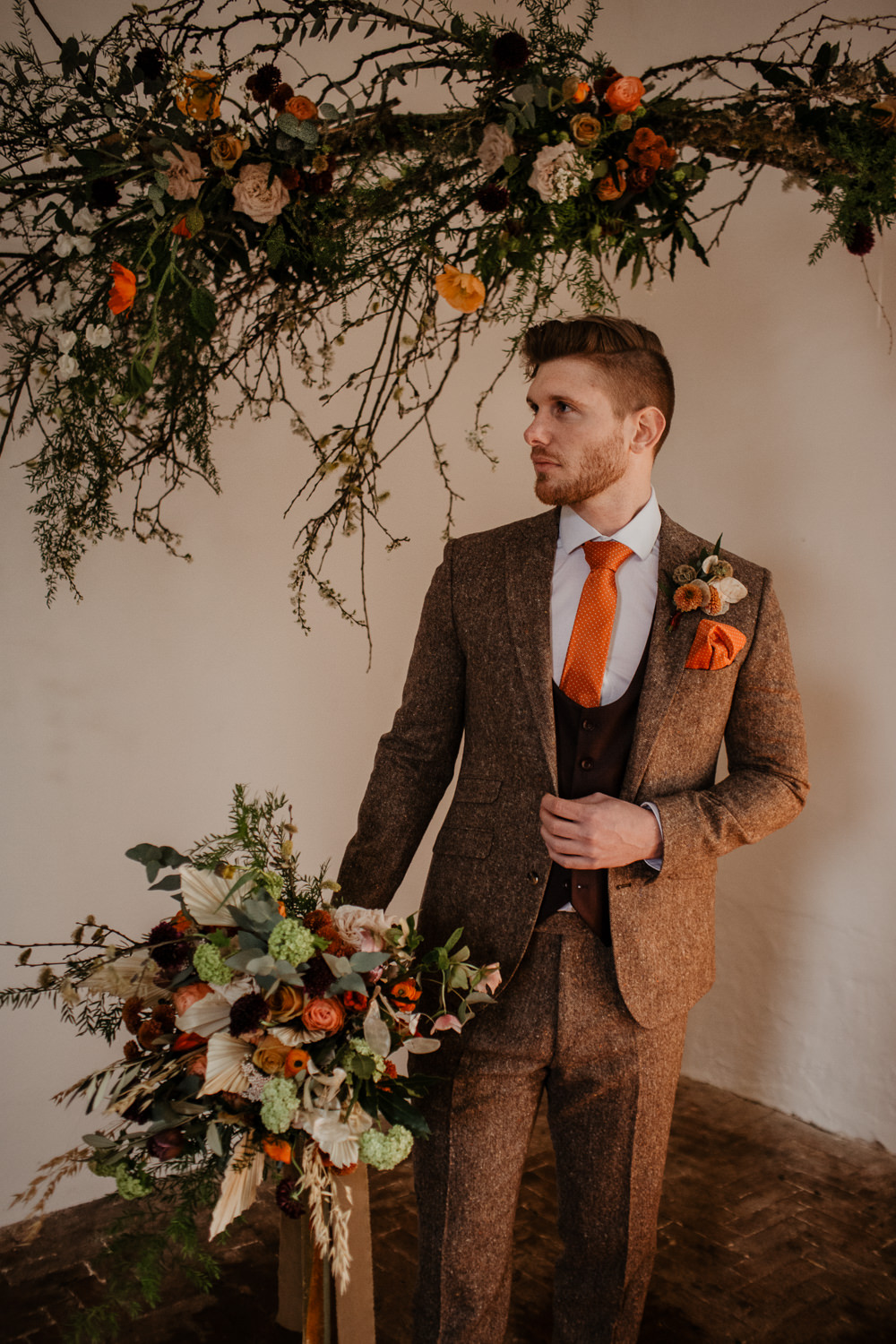 Groom Suit Brown Tweed Orange Tie Maroon Waistcoat Buttonhole Flowers Dried Seed Heads Elopement Wedding Ideas Oilvejoy Photography