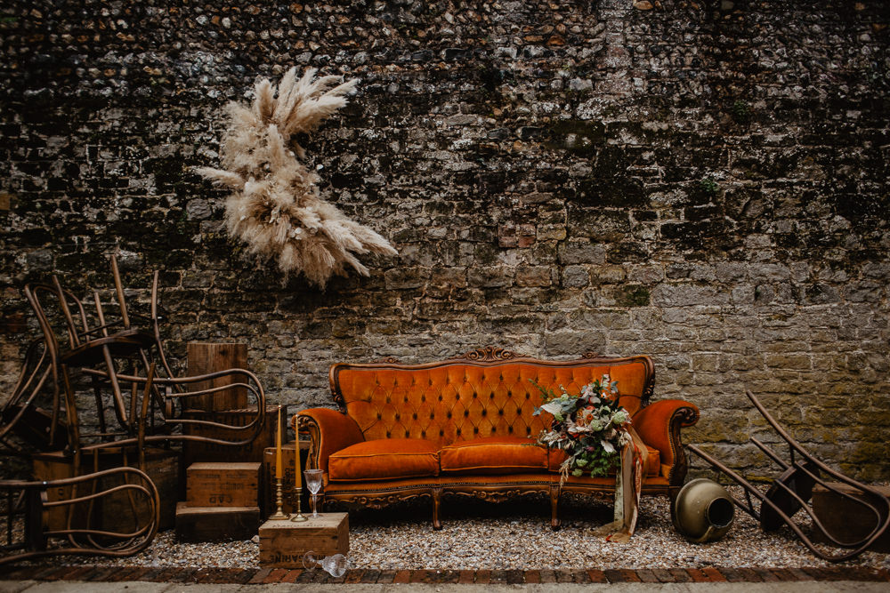 Crescent Moon Pampas Grass Installation Backdrop Flowers Floral Orange Sofa Vintage Elopement Wedding Ideas Oilvejoy Photography